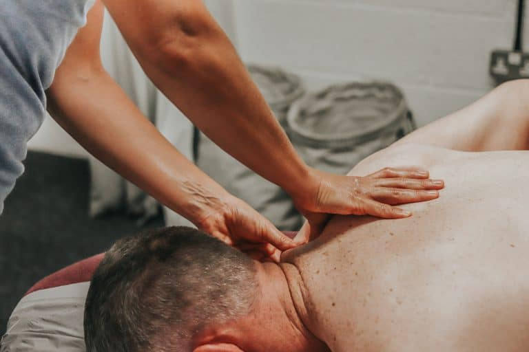 Joni undergoing a sports massage session